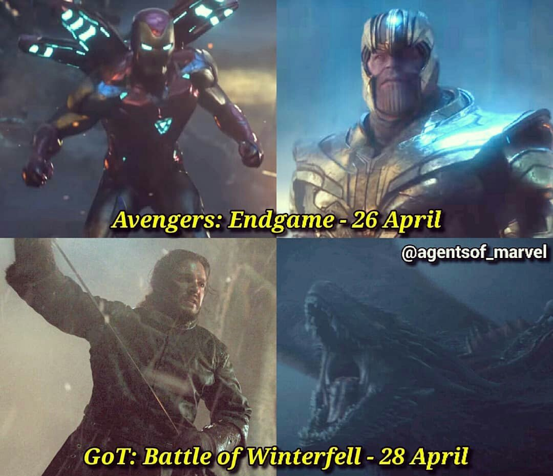 It&#39;s going to be a hell of a weekend  #Endgame  #AvengersEndgame  #GameofThrones   #GOTS8   #Marvel <br>http://pic.twitter.com/BBJ2expjyb