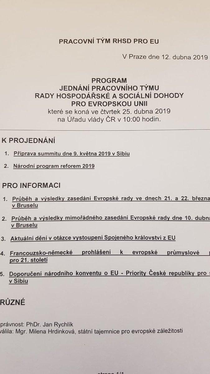 Dnes se na @strakovka řeší Národní program reforem pro rok 2019 nebo příprava květnového summitu v Rumunské Sibini. Sociální partnery čeká i diskuse k záležitosti #Brexit. Právě nyní zasedá pracovní tým #tripartita pro EU, který představuje jeden z celkových 18 týmů tripartity.
