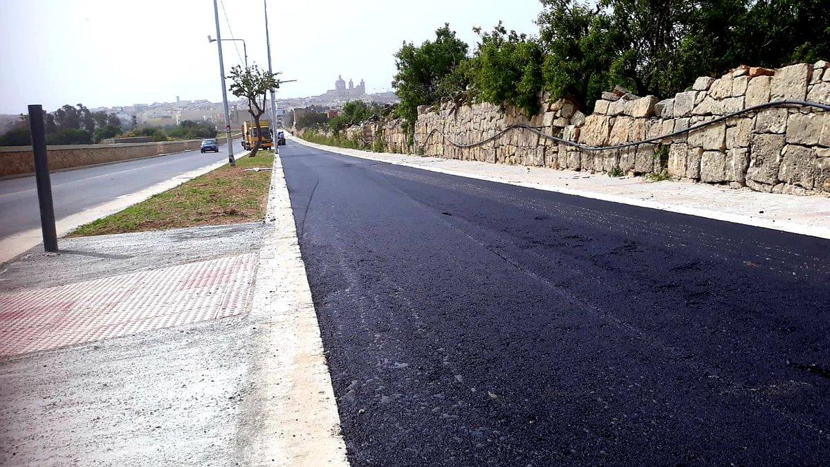 Segregated cycle track at triq l aħħar ħbit mit torok taċ ċawsli zejtun to zabbar in progress reconstruction of this road nearing completion