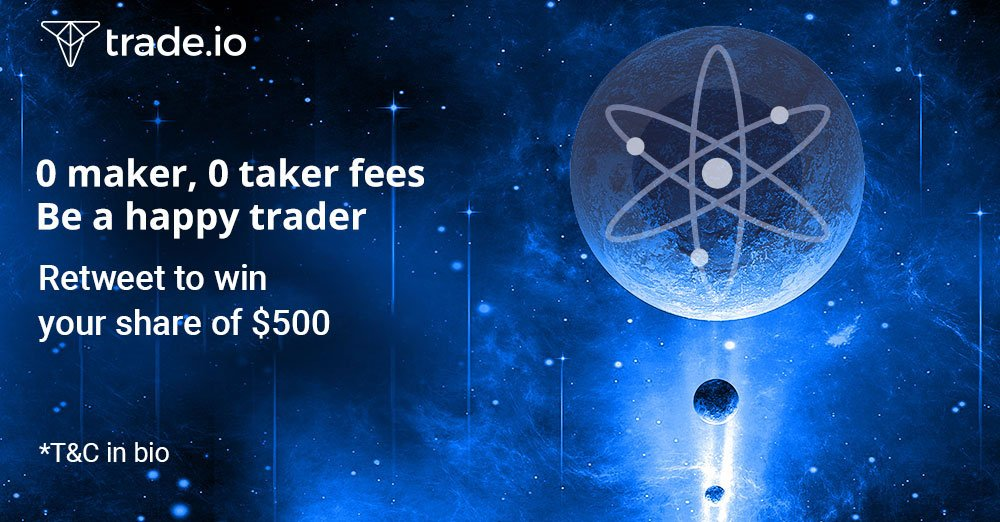 $ATOM is now ready for you to trade  0 maker, 0 taker fees  🎉 Retweet this post adding #ATOMontradeio to win your share of $500!  🎁  @cosmos #crypto #blockchain #exchange #tradeio $TIOx #cryptofees #ATOMontradeio
