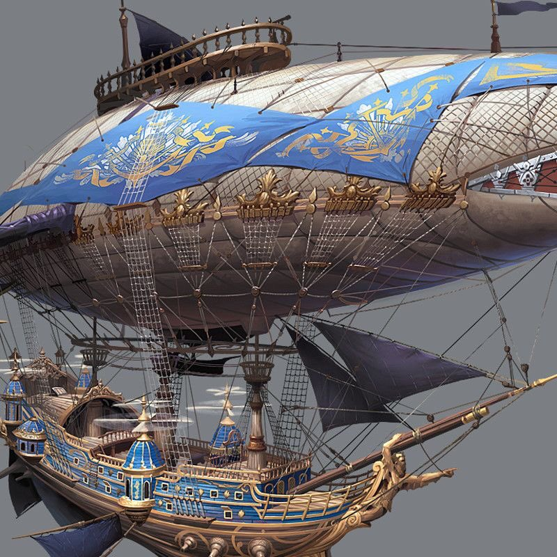 Now a few Steam Punk machines...This Airship is by Hyunbin on ArtStation.