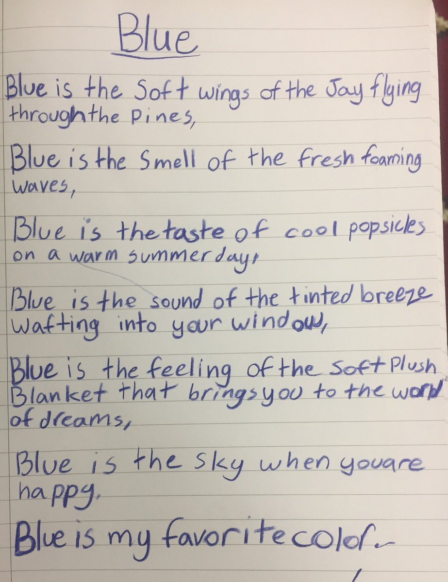 Can you explain color?  Is a thing just a word? Poems can tell us more. Students use figurative language to paint a picture in our heads beyond a simple thought. #hweo #literacy @GESatKAUST