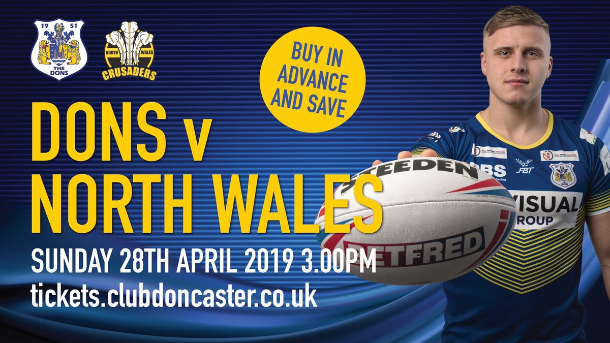 Get your tickets early for our Supplement Sponsors @Doncaster_RLFC visit of North Wales Crusaders Rugby League Club to the Keepmoat Stadium, Sunday April 28 tickets.clubdoncaster.co.uk. #PartOfThePride