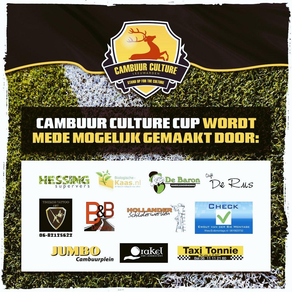Wij bedanken onze sponsoren voor het mogelijk maken van de 6e editie van de Cambuur Culture Cup 2019!  #Cambuur #CCC19