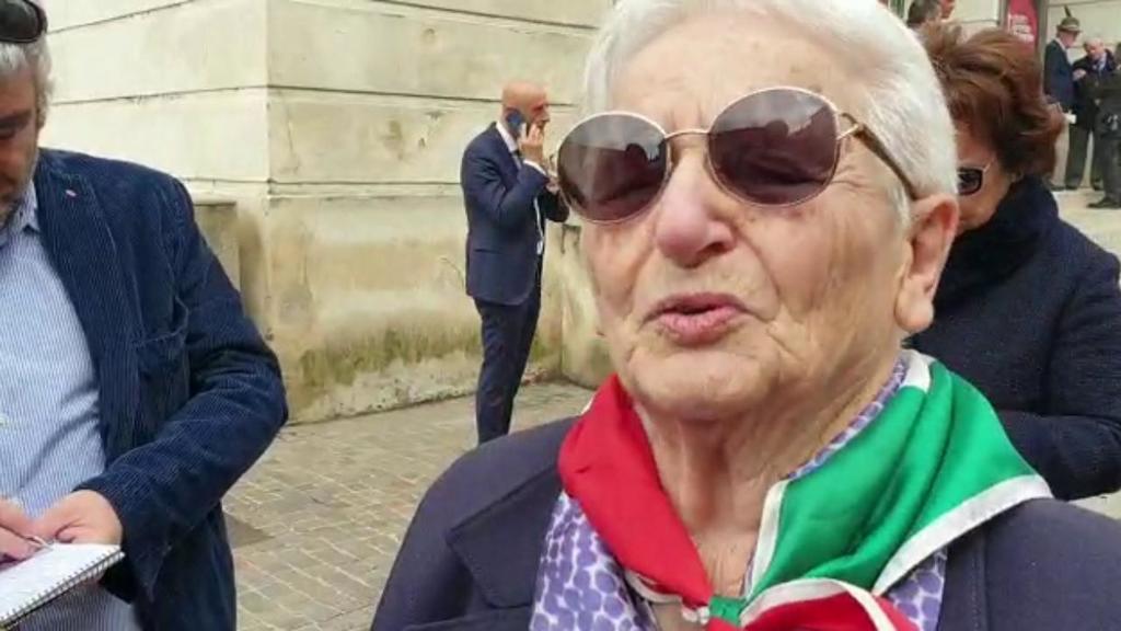 Leda, partigiana di 93 anni, ai festeggiamenti per...