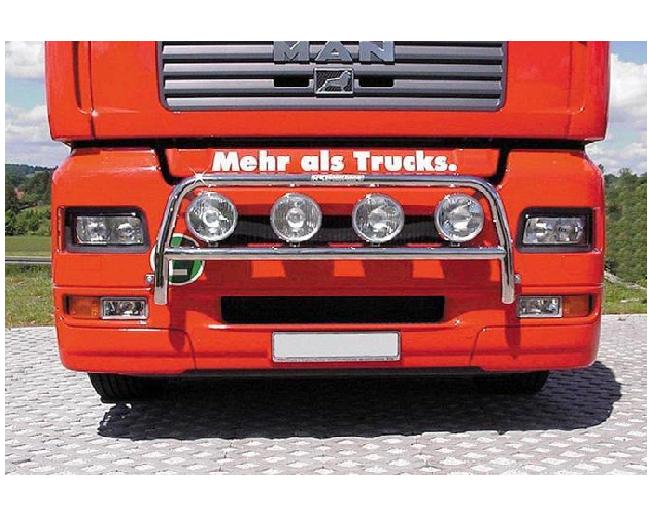 Barra Porta-faros Delantera con cuatro sujeciones porta-faros se monta en Man TGA entre 2000-2007. Entra en nuestra web y mira todo lo que tenemos para ofrecerte  #camion #truck #barraprotafaros #faros #customizar #coche #automotive #custom #parts #homologa