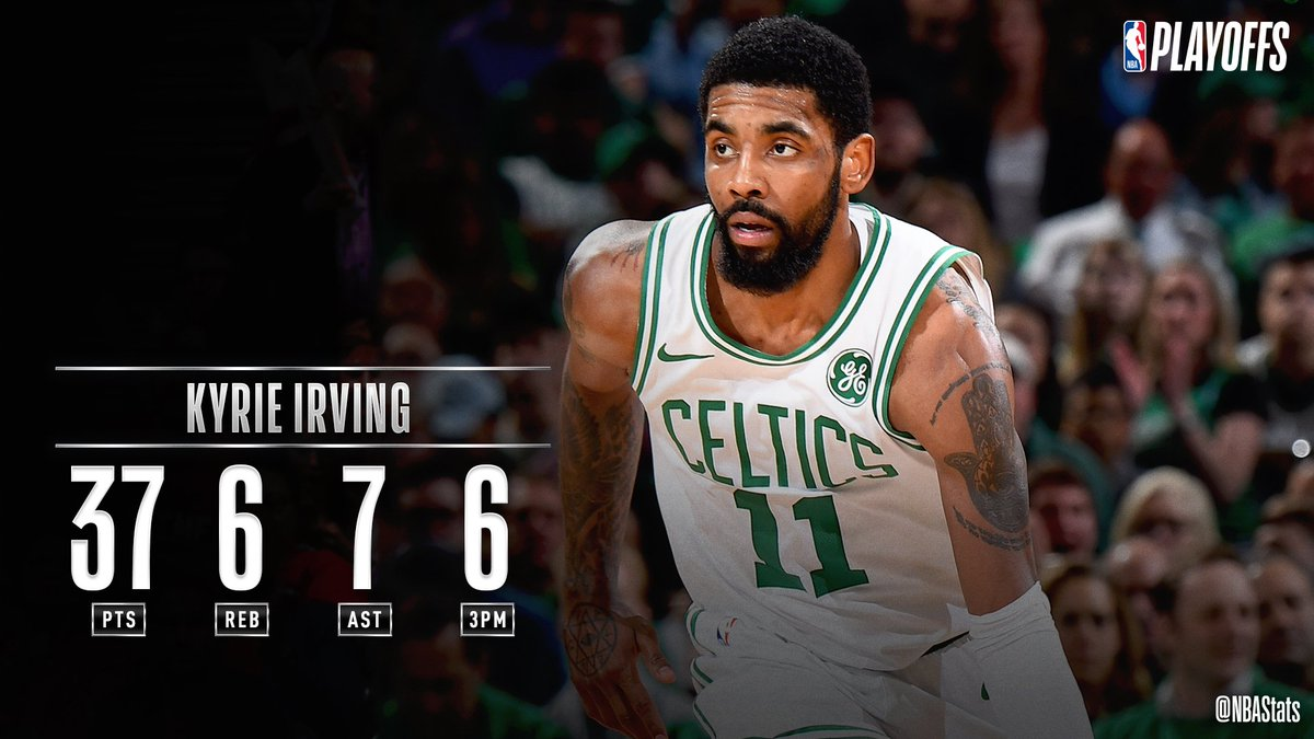 Kyrie Irving fuels the @celtics Game 2 win with 37 PTS, 6 3PM, 7 AST, 6 REB! #SAPStatLineOfTheNight #NBAPlayoffspic.twitter.com/kNUlm0zvpb http://srhlink.com/R32qtj