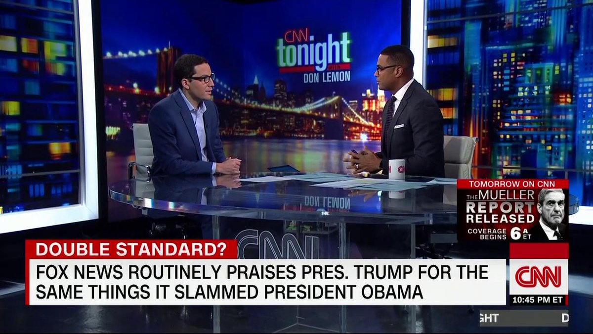 CNNs @DonLemon: The hypocrisy is stunning and its right there in your face. ... Just imagine what it would be like if Fox News reported on President Trump the way they covered President Obama
