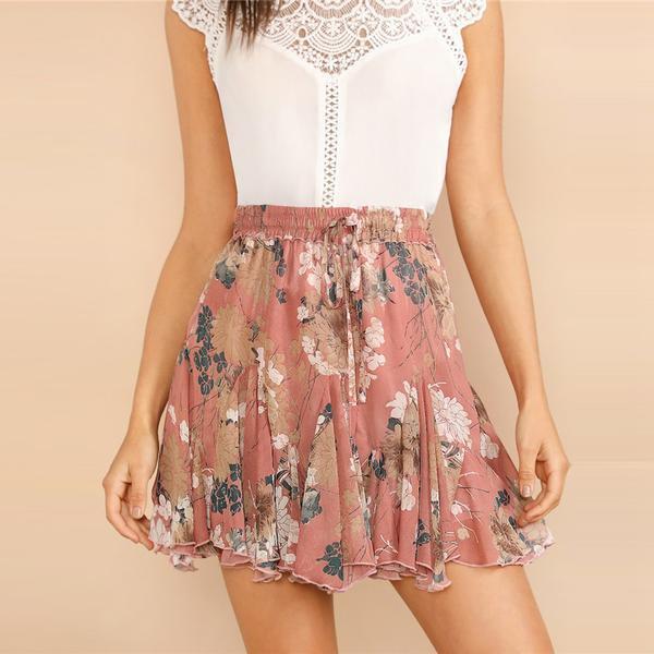 Boho Flower Print Ruffle Hem Floral Drawstring Godet Skirt - Pink - Size XS to L