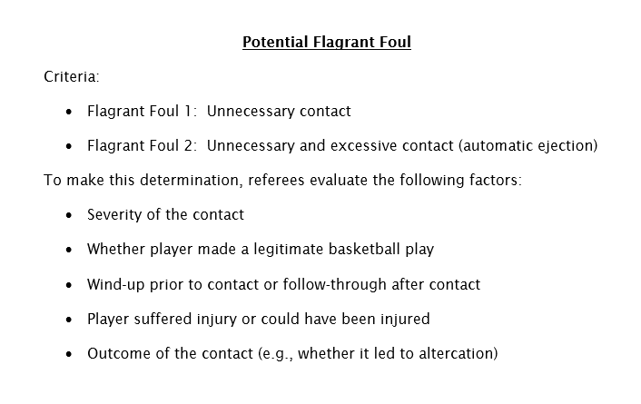 Potential Flagrant Foul Review criteria: