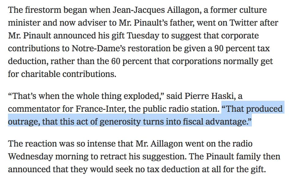 "This priceless @nytimes piece on the ""philanthropy arms race"" in France to repair Notre Dame is literally @AnandWrites' ""Winners Take All"" in three paragraphs. Dying. 🤣  https://www.nytimes.com/2019/04/17/world/europe/yellow-vest-notre-dame-fire-donations.html?action=click&module=Top%20Stories&pgtype=Homepage …"