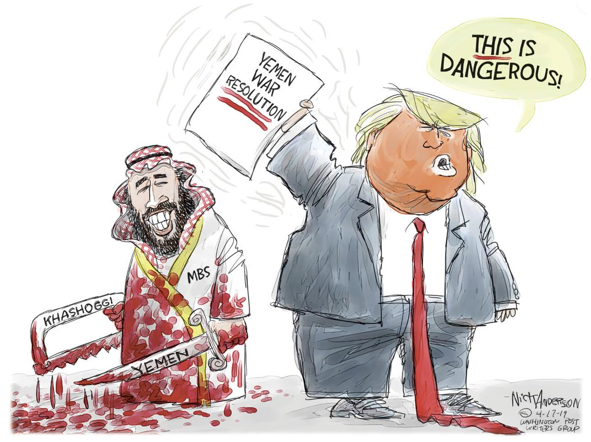 Dangerous! Consider supporting my cartoons on my Patreon Page so I can continue creating them.   https://www. patreon.com/editorialcarto ons   …  #Trump #Yemen #Khashoggi #YemenForgottenWar #MBS<br>http://pic.twitter.com/88HXKpXTEv