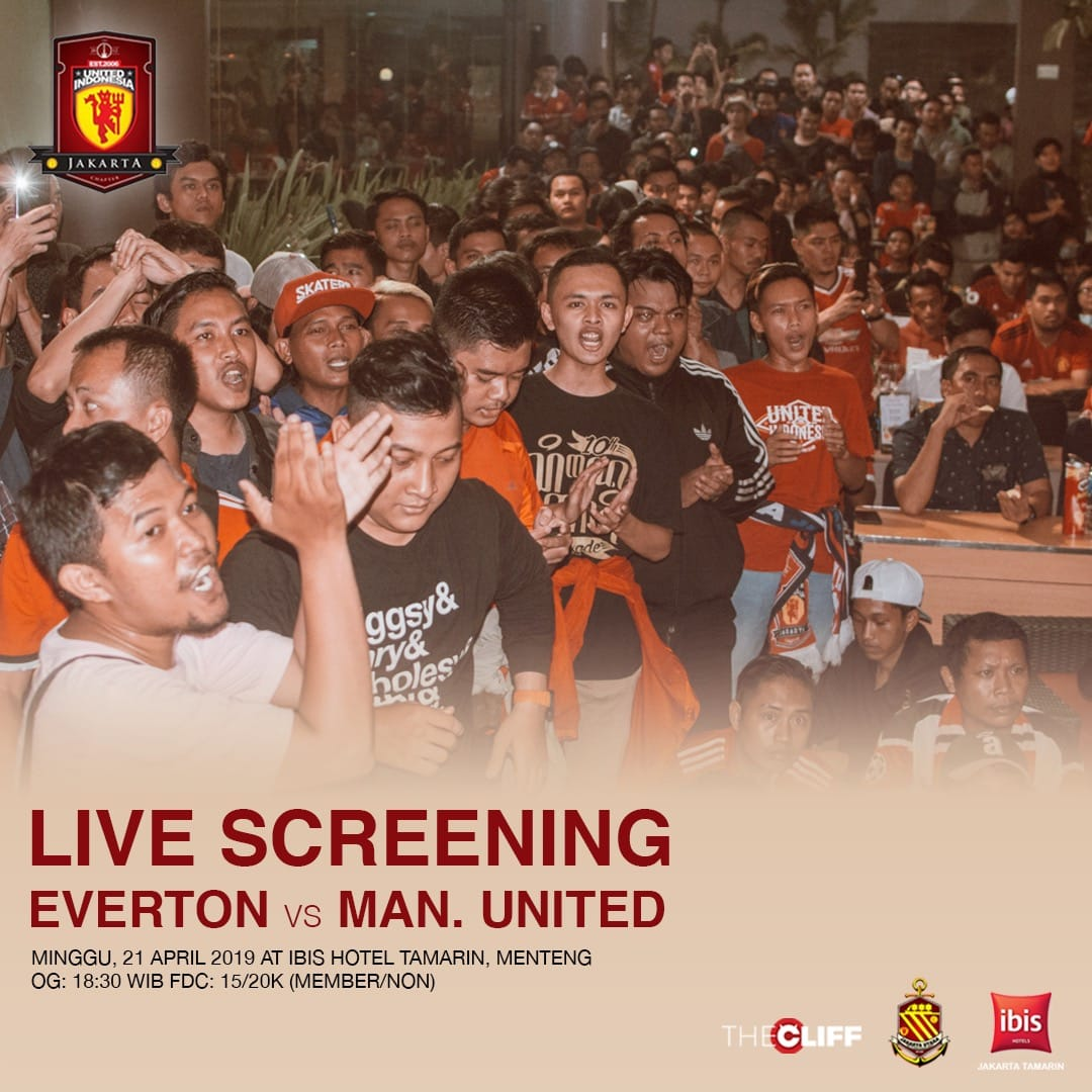 #LiveScreening Everton vs Manchester United, This Sunday! at Ibis Hotel Tamarin, Menteng. Open gate 18.30, FDC 15/20 member non member.   #UIJKT