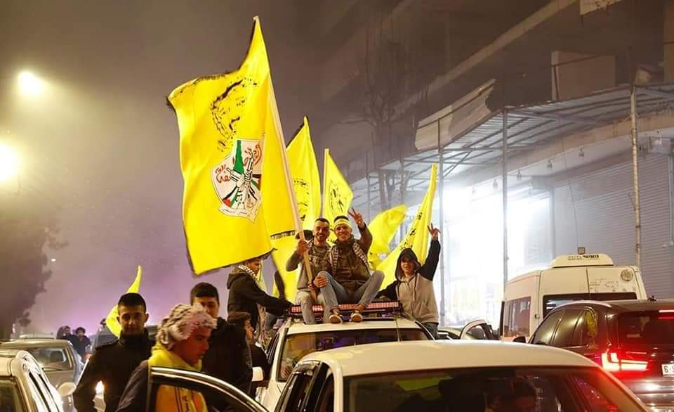 Wednesday night in Ramallah: Fatah Youth celebrates at the al-Manara roundabout for the seats won in student council elections.