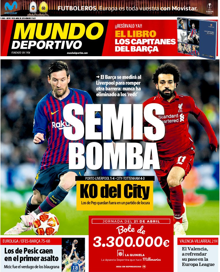 The Spanish Football Podcast On Twitter In Barcelona It S Messi V Salah Mundo Deportivo Say Barca Will Face Liverpool To Overcome Another Obstacle They Ve Never Knocked Out The Reds Https T Co 1cvjvfqtbd