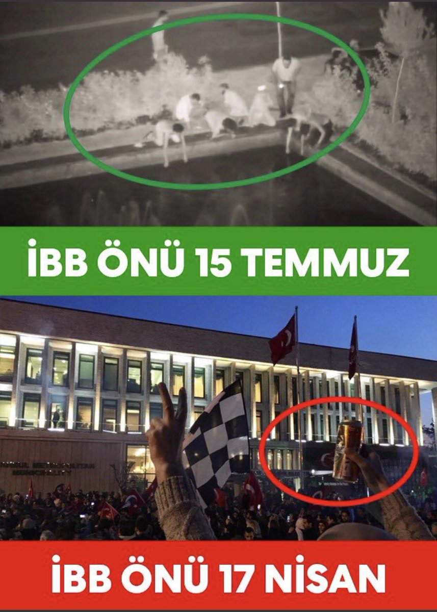 """İstanbul Belediyesi önündeki kutlamalar sırasında elinde bira şişesi olan gencin fotoğrafı ile 15 Temmuz gecesi abdest alanların fotoğrafını birleştirip muhafazakar-dindar seçmen tabanına """"görün bakın"""" demeye getiriyorlar. Hala sorunun kaynağını anlamış değiller. Bakınız ->"""