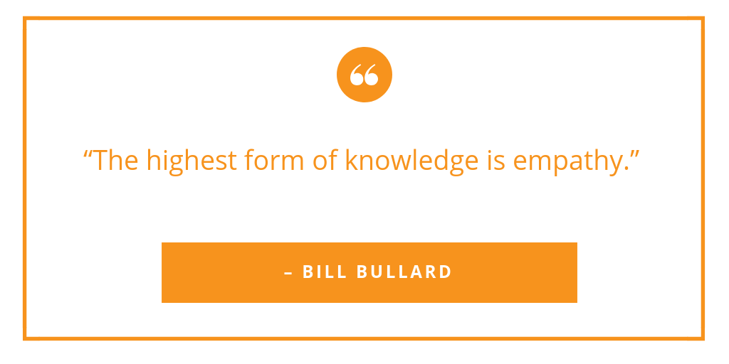 """The highest form of knowledge is empathy.""   – BILL BULLARD  #empathy #loveforusers #valentinesday #uxchat<br>http://pic.twitter.com/HGVN8M76KP"
