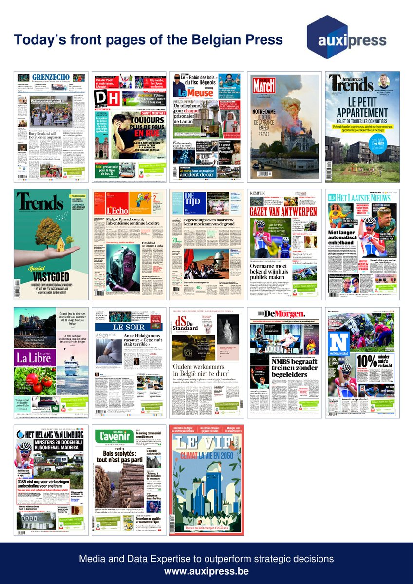 #Newsoftheday 📰💡📝- Discover today's front pages of the #BelgianPress ! #Voetbal #Football #ChampionsLeague #Amstel #Clasico #rscanderlecht #Stib #GuyGilbert #Pocognoli #VR #NotreDame #NotreDameCathedralFire #Proximus #Beyonce #TrumpCuba #TRUMP #AnneHidalgo #TheVoice