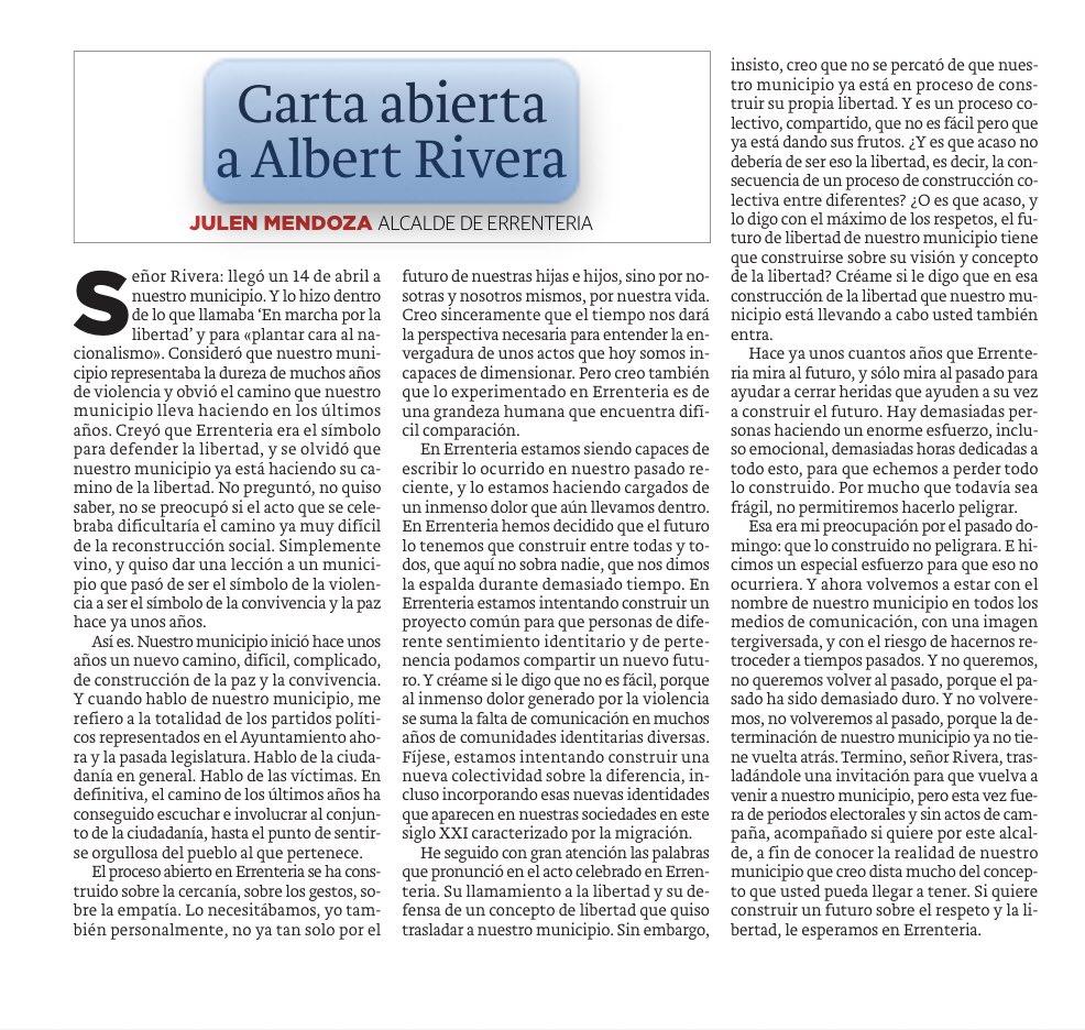"""""""CARTA ABIERTA A ALBERT RIVERA"""". Artículo que escribo hoy en el @diariovasco"""