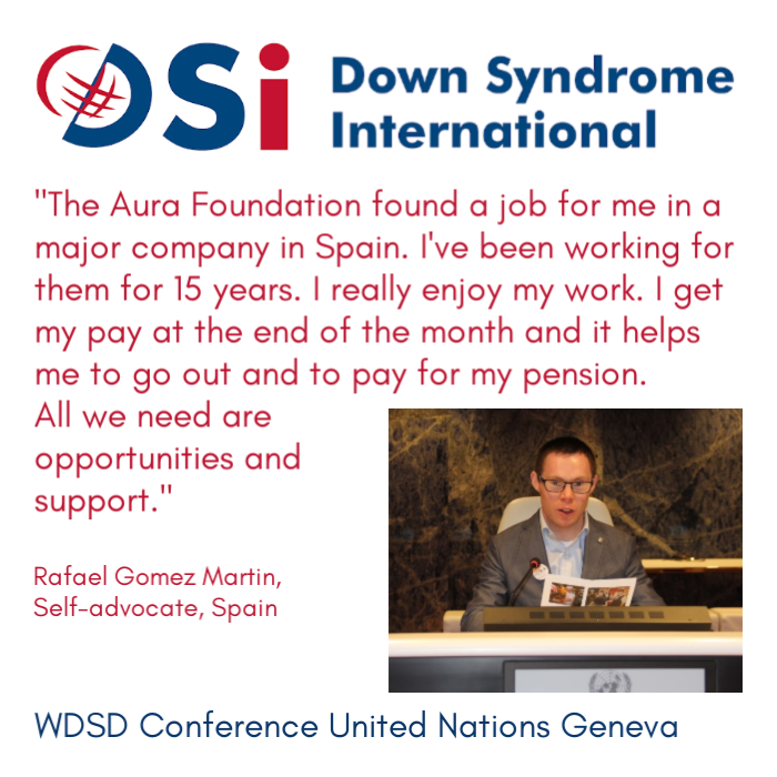 Rafael Gomez Martin, self-advocate from Spain at the WDSD Conference at United Nations Geneva 21 March 2019 #LeaveNoOneBehind #WDSD19 #WorldDownSyndromeDay