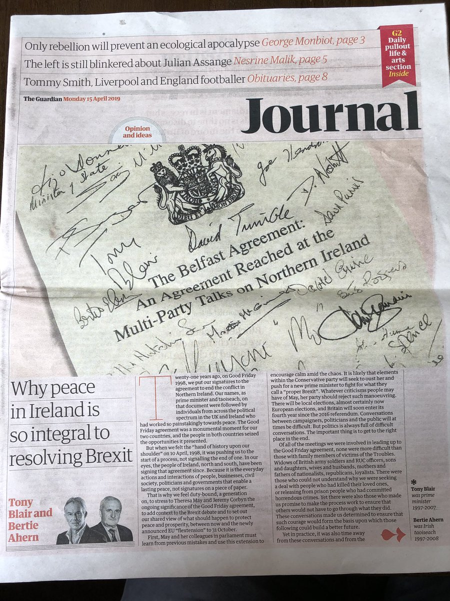 What makes for peace? Tony Blair & Bertie Ahern suggest it is not just signatures on paper 'In our eyes, the people of Ireland, north and south, have been signing that agreement since. Because it is the everyday actions and interactions of people...that enable a lasting peace.'