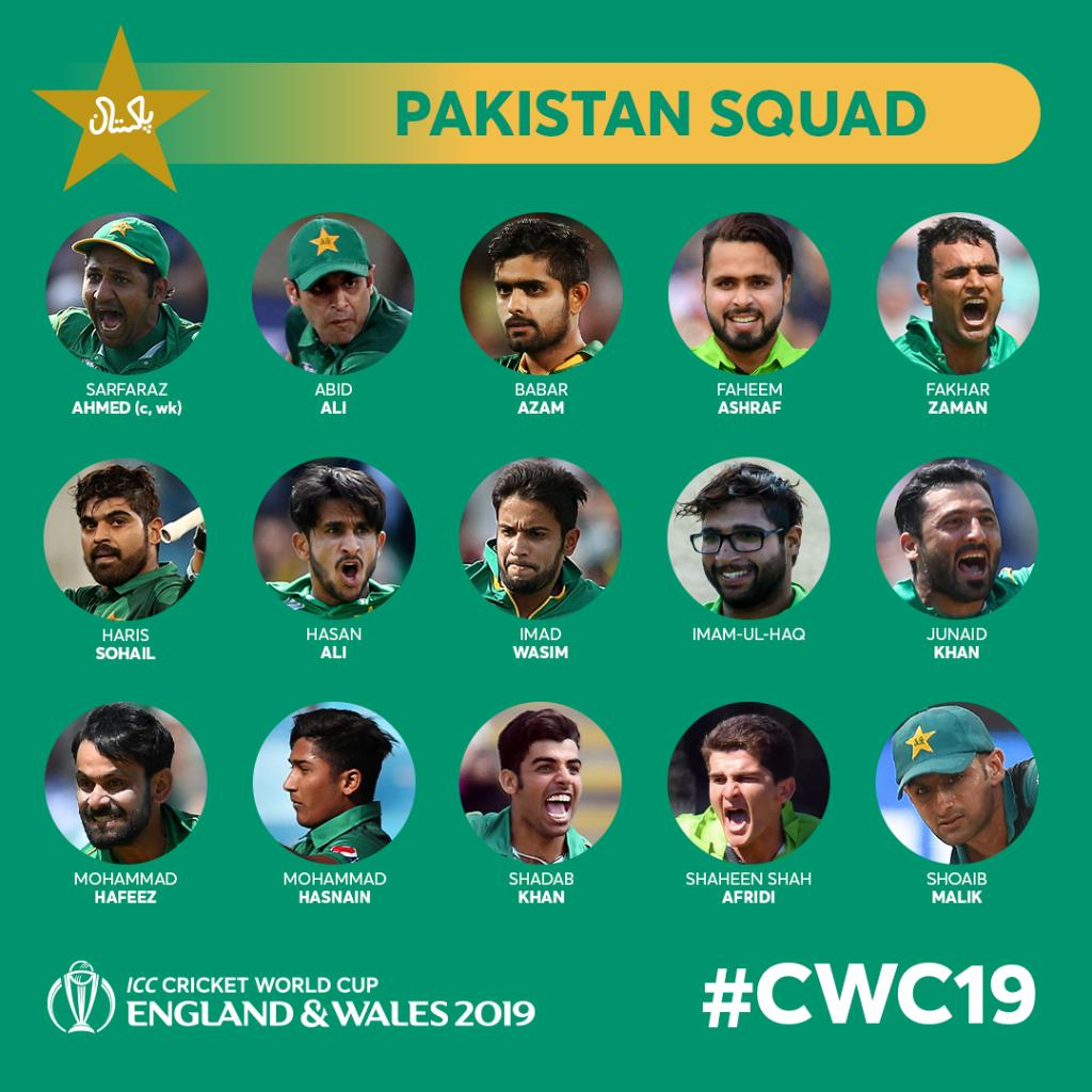 Image result for pakistan squad for icc world cup 2019