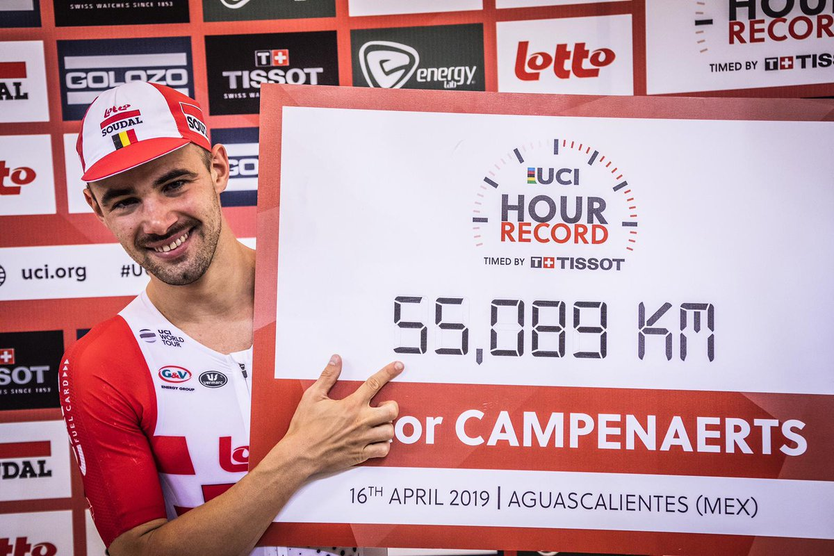 The 27-year old Belgian rider, @VCampenaerts, set a new one - hour World Record timed by Tissot after beating Bradley Wiggins' performance by 563 meters.  More info: https://bit.ly/2Dk8a0K