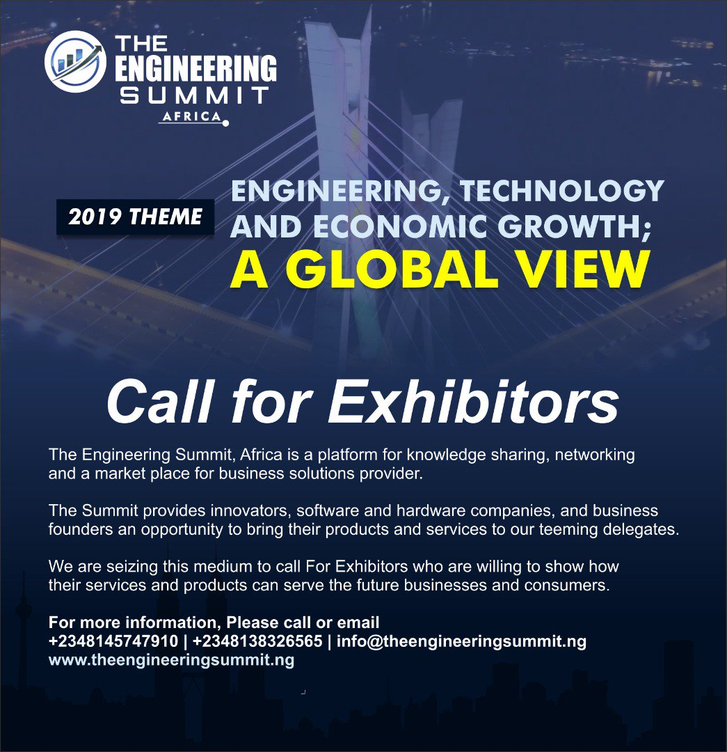 Dear entrepreneurs, I present to you a unique and affordable opportunity to exhibit your business. Register here:  https:// forms.gle/9UChFNi7Jx8ENM MB7 &nbsp; …   You can download the brochure here:  http://www. theengineeringsummit.ng  &nbsp;   #tech #engineer #ThursdayThoughts #ThursdayMotivation #Africa <br>http://pic.twitter.com/Y5ieDtj5cs