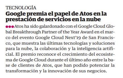 @googlecloud premia el papel de Atos en la prestación de servicios en la nube-...