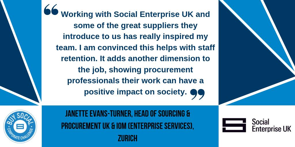 Working with social enterprises is a big benefit when it comes to staff retention says Head of Procurement at Corporate Challenge Partner @Zurich  Find out more about the #BuySocial Corporate Challenge and how you can get involved >> http://ow.ly/baJd50qJ0dC  #socent