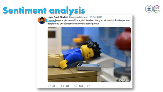 My slides for @beautiful_hack are now available via the OSF. It's a short tutorial for @kearneymw's #rtweet package. We scrape and visualize tweets of the @legogradstudent to investigate the emotional content of his tweets 💻😊 #rstats #psyteachr  Link: https://osf.io/28f6b/