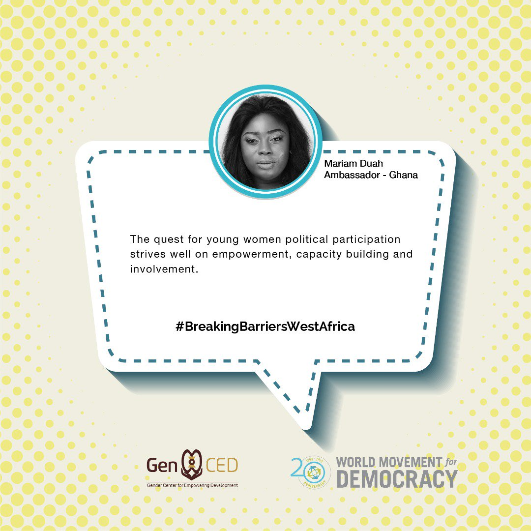 Through #BreakingBarriersWestAfrica, @GenCEDgh empowers young women in #WestAfrica to participate in political processes and to encourage their peers to do the same! Can't wait to see more from this campaign