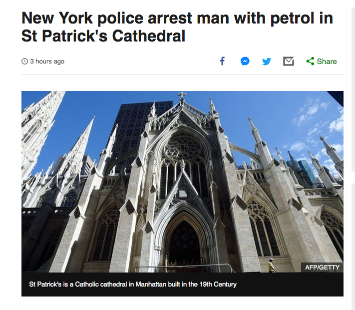 A man walks into St. Patrick's Cathedral in New York with 4 gallons of gasoline, lighter fluid and lighters. The man, who has been arrested, is reportedly Catholic with a history of arrest. Expect silence from the conspiracy theorists who smeared Muslims for #NotreDame.