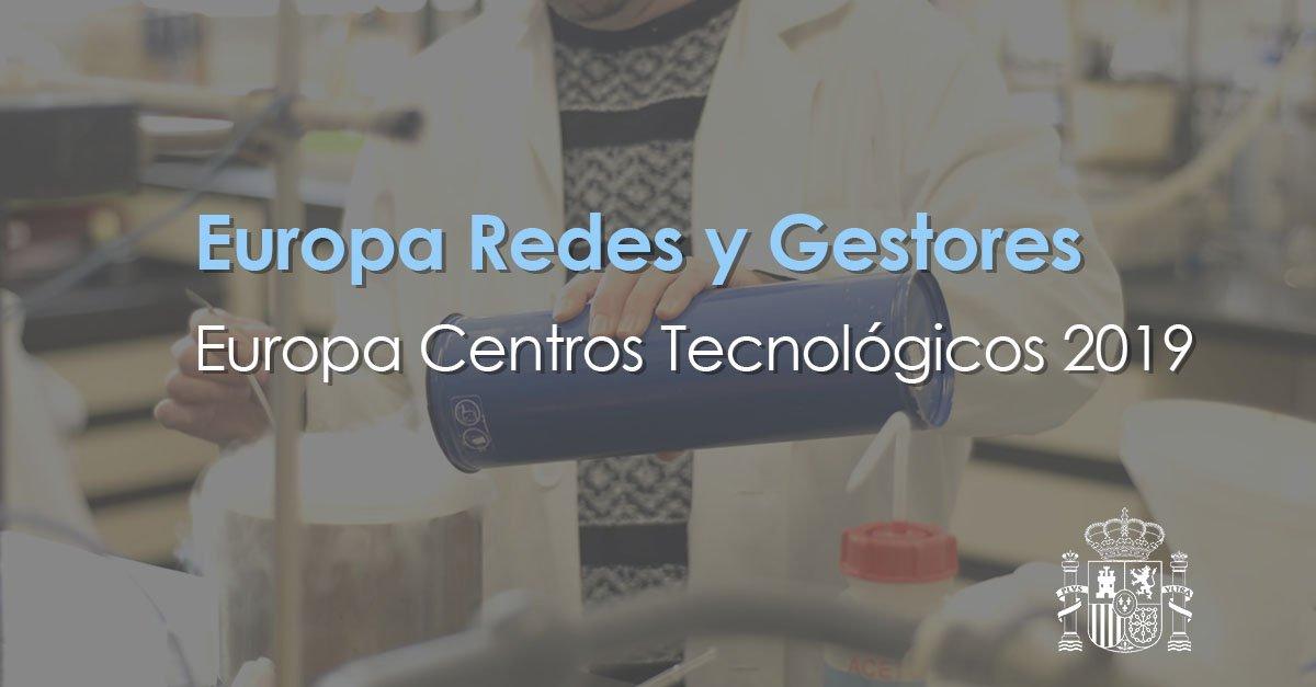 Sigue abierta la convocatoria Europa Redes y Gestores-Europa Centros Tecnológicos 2019.  Estas ayudas refuerzan las estructuras de los organismos de investigación españoles para impulsar su participación en @EU_H2020.  🗓️ Hasta el 30 de abril ➡️ https://bit.ly/2Is8Nc2