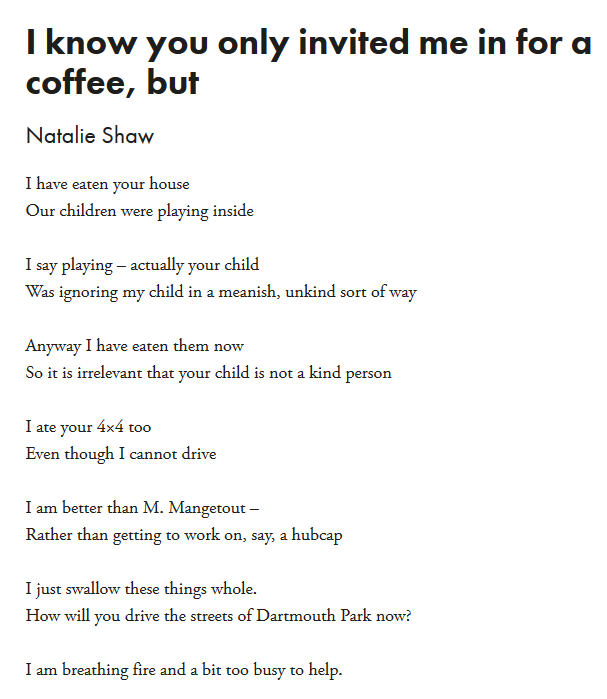 test Twitter Media - Today is #pocketpoem Day   Clip out or print this poem and carry it with you to share throughout your day.  'I know you only invited me in for a coffee, but' by Natalie @redbaronski (Natalie Shaw)   https://t.co/Wv6oGlFsZA https://t.co/c2zxCdnyja