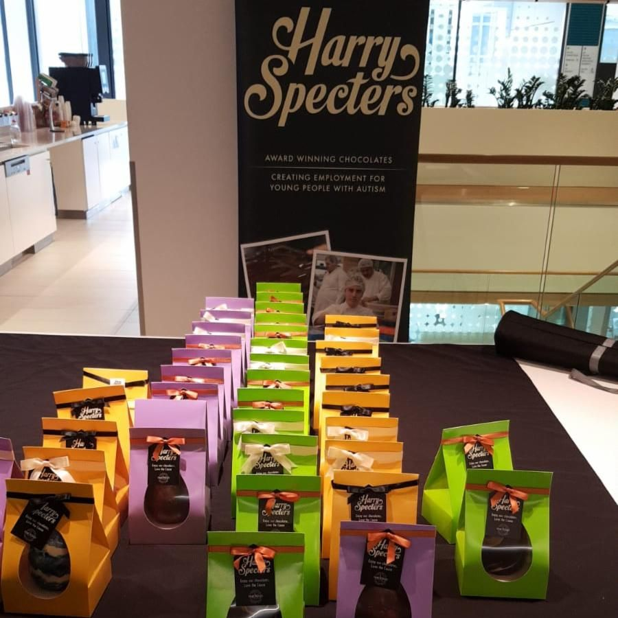 🐰 The Harry Specters Easter bunny is at @Schroders today where these gorgeous Easter eggs are selling out.  Don't panic though, you can still order your Easter treats from our online shop: https://buff.ly/2u29m3C  #Easter2019 #SocialEnterprise