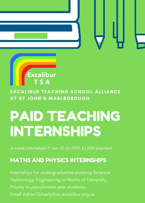 University students heading home for the summer? Check out our paid teaching internship programme for STEM undergraduates. 4 week DfE internships from 17 June £300 per week based at St John's.  For more info email admintsa@stjohns.excalibur.org.uk or here: https://t.co/6kPWjPObPz