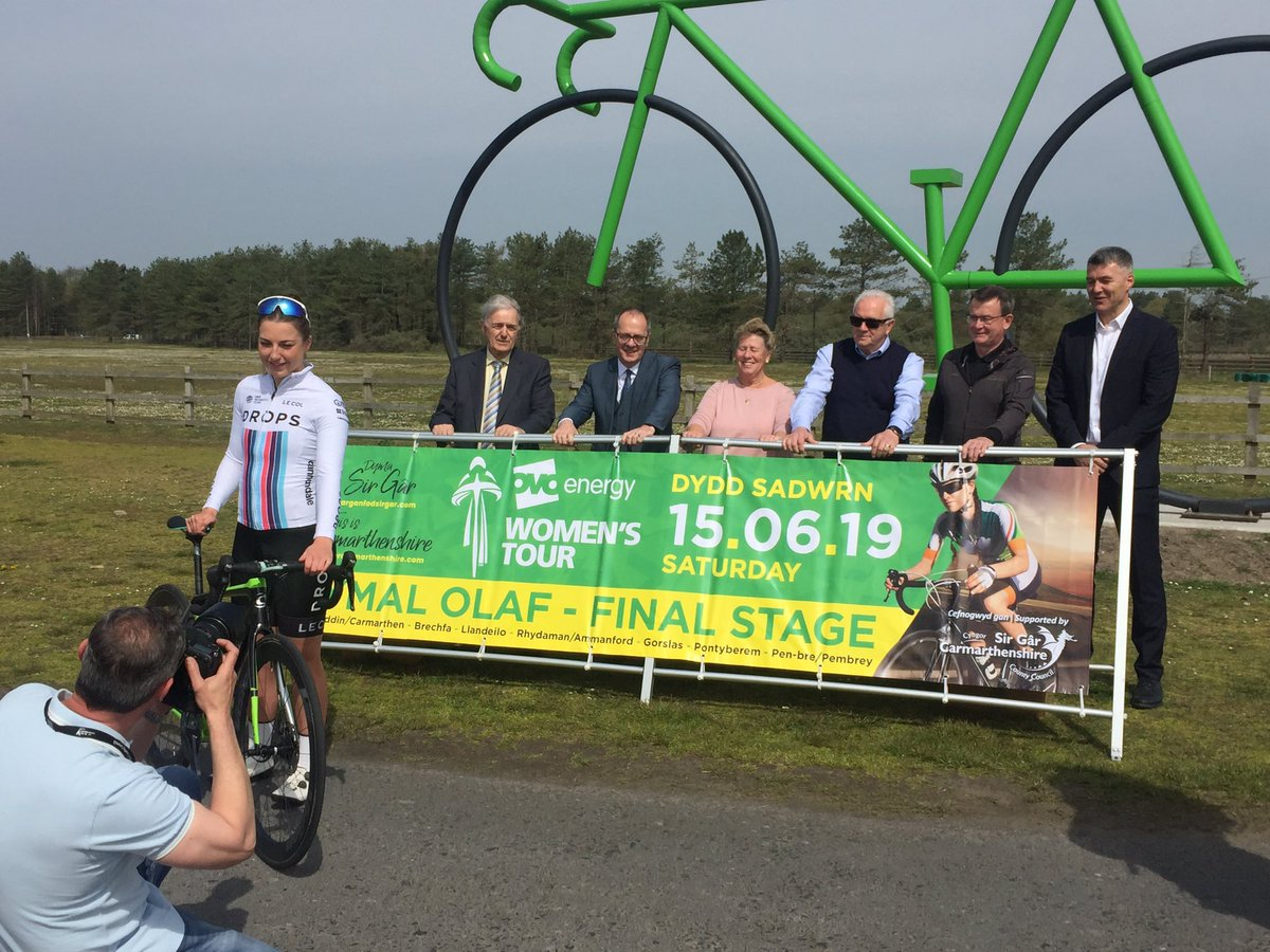 We're here at @ParkPembrey as the final stage of @thewomenstour is announced! #WTOB #WelshCycling