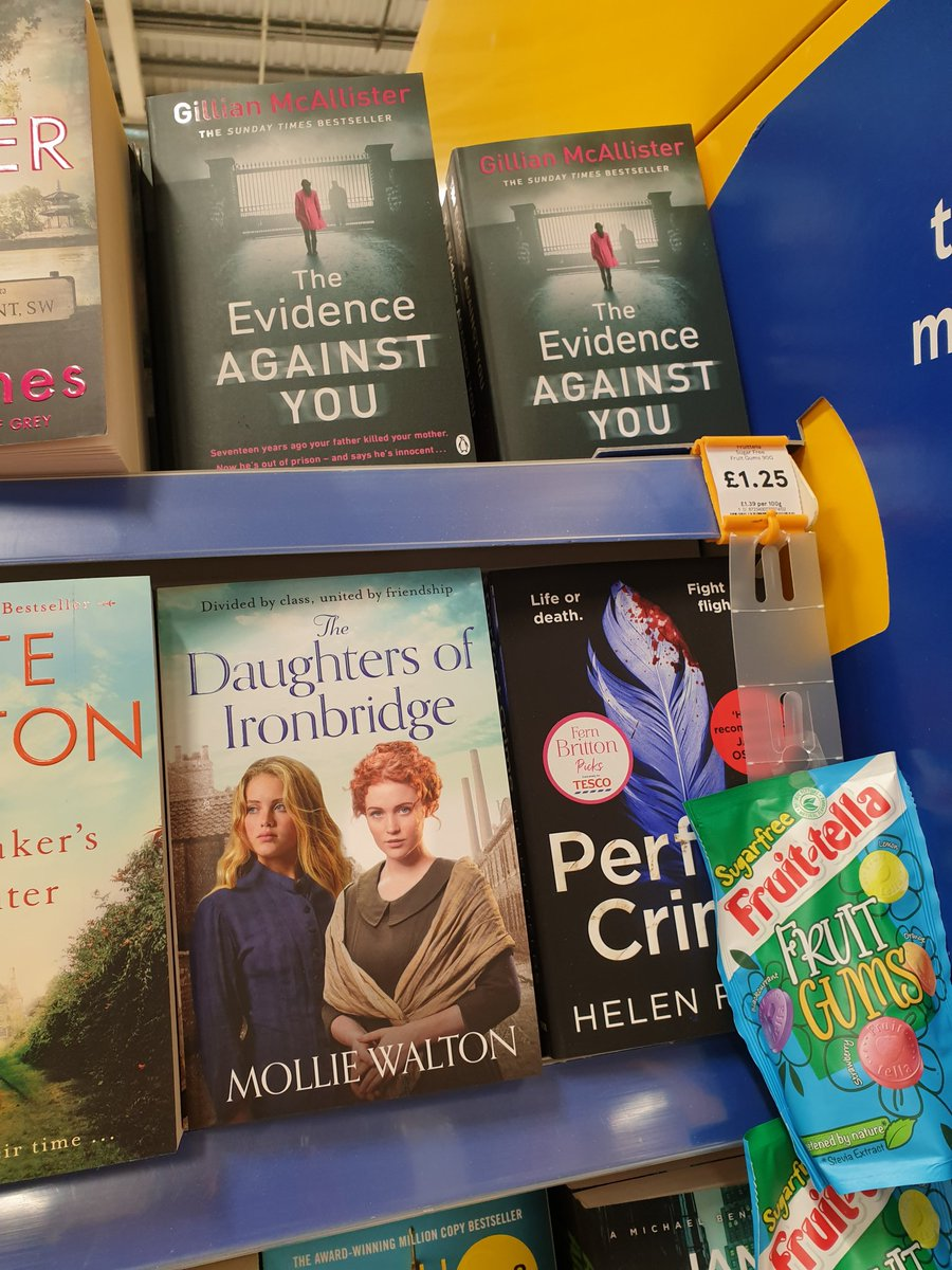 Spotted in Tesco today - #TheEvidenceAgainstYou by @GillianMAuthor @MichaelJBooks #TheDaughtersofIronbridge by #MollieWalton @rebeccamascull @ZaffreBooks and #PerfectCrime by @Helen_Fields @AvonBooksUK. Happy publication day ladies!!!