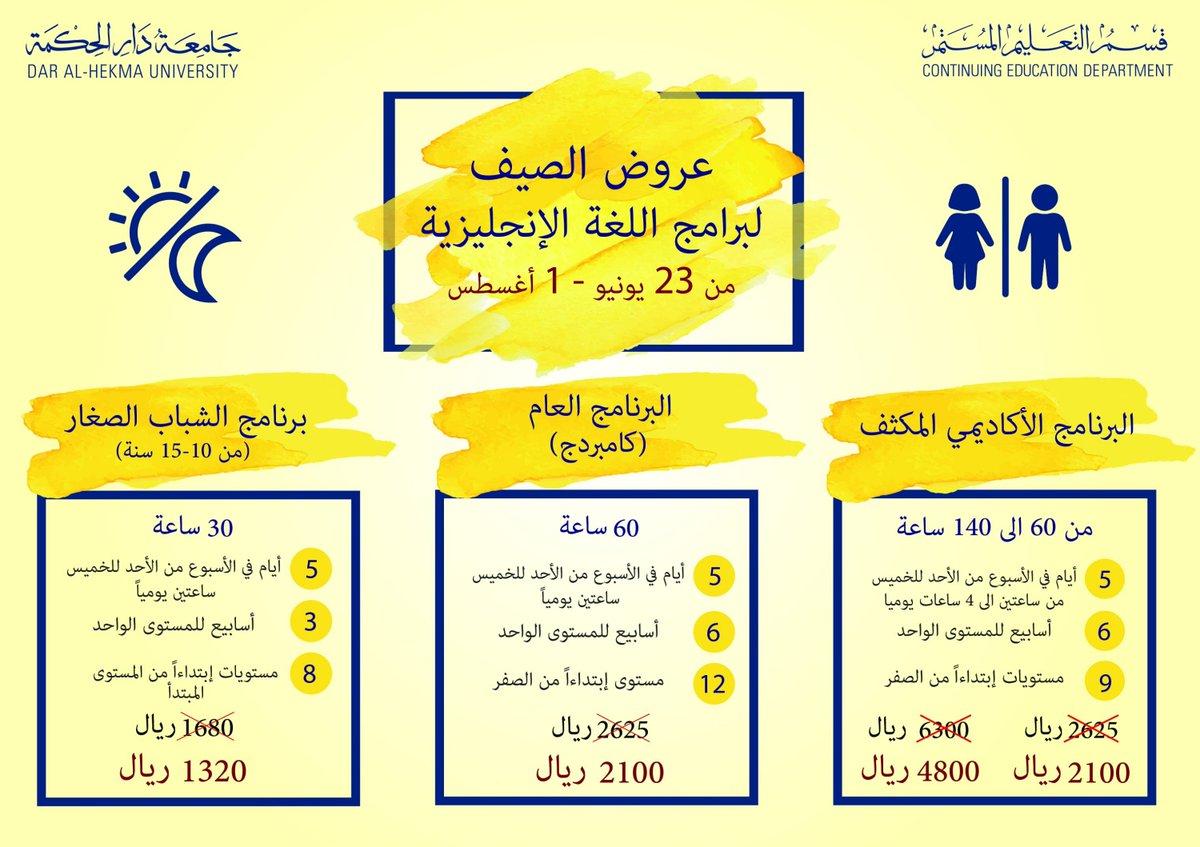 cccebfe4e #عروض التعليم المستمر في جامعة دار الحكمة في #الصيف 20% #خصم على جميع برامج  اللغة الإنجليزية وعروض أخرى @DAH_CEDpic.twitter.com/TDnGTlXKWI