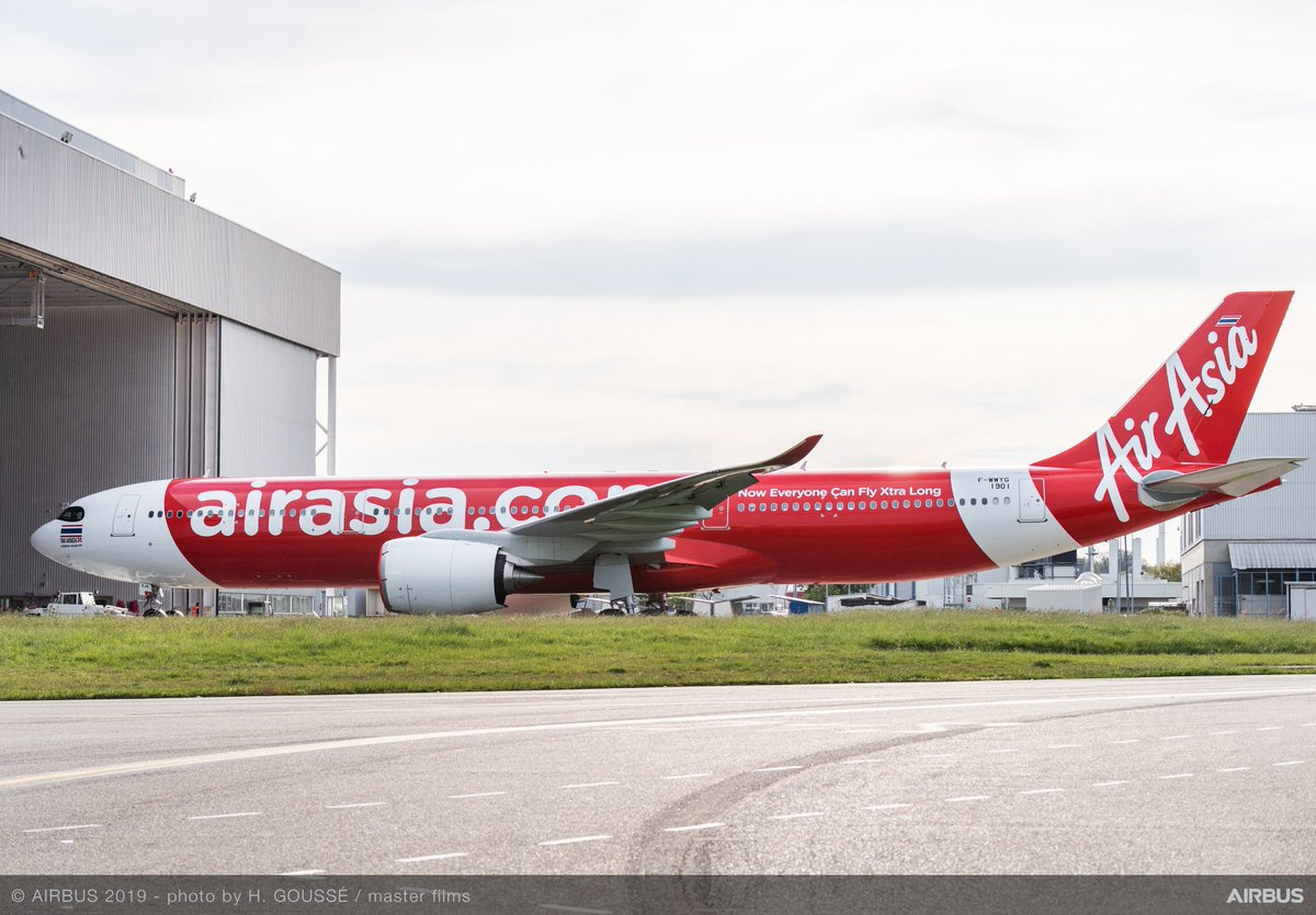 Take a look at @AirAsia's first #A330neo all dREsseD up as it leaves our paintshop! The new addition will bring a step-change in fuel efficiency for AirAsia's long haul operations from Thailand – happy flying!