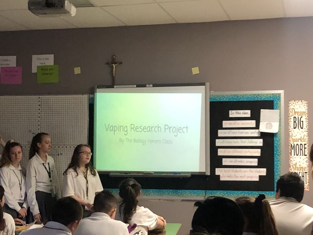 Mrs. Clough's Honors Biology Class presented about the health risks of vaping to the 8th graders.