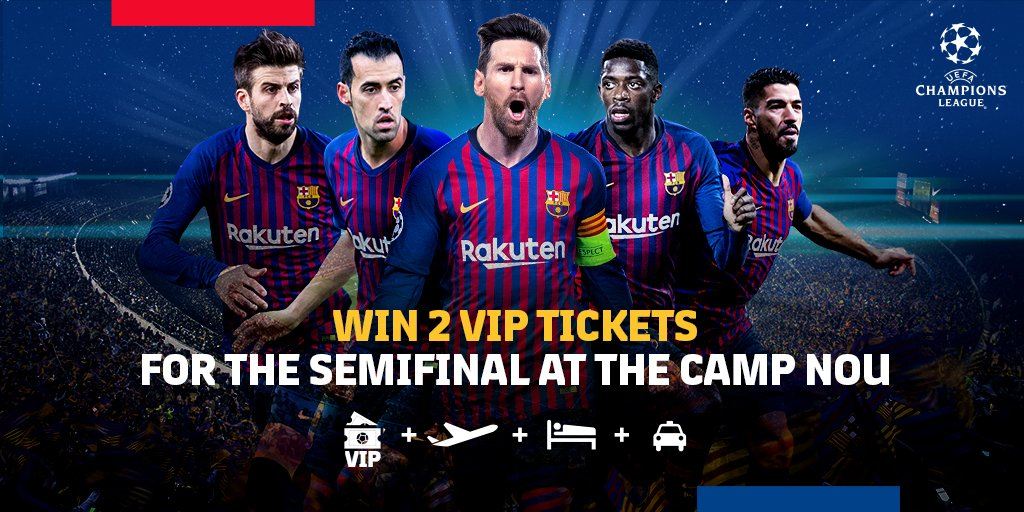 ⚽ FC Barcelona - Liverpool FC 📍 Camp Nou 📅 May 1st  🕘 9 pm CET 🔵🔴 Come to the Camp Nou to watch the Champions League semi-final! Enter the draw 👇👇👇 http://ow.ly/ol0g30ot76o