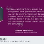 Jasmin Velazquez recently received the top CoreLogic award for her contributions to the complaint management process for Valuation Services. Congratulations, Jasmine, on your extraordinary achievements! #CoreLogicCareers