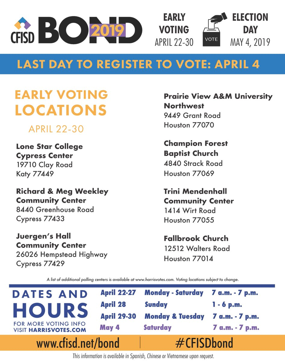 Several Early Voting Sites Are Available In The Cfisd Community Learn More At Http Www Bond Cfisdvote Twitter S0zyriid0x