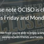 Image for the Tweet beginning: Please note OCISO is closed