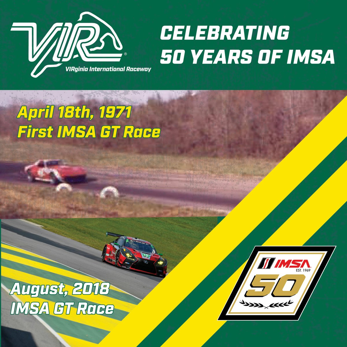 🚨#Giveaway Alert🚨 To celebrate the anniversary of the first @IMSA GT Race we are giving away 3 awesome prizes on all social media channels! Prizes: 1st- VIR History Book & #IMSA50 Poster 2nd/3rd-IMSA50 Poster  How to Enter: 1. RT+Like THIS POST 2. Comment #IMSA50 #MichelinVIR