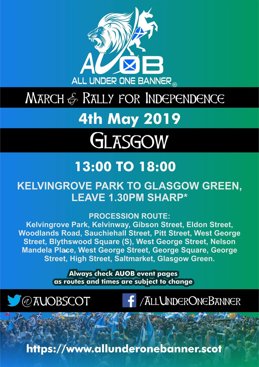 Please note the start time for the March remains at 1.30pm. #AUOB #AUOBGlasgow<br>http://pic.twitter.com/CHcIvaX0cX