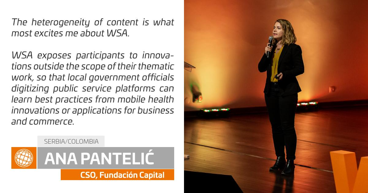 """🚀 @anapantelic - Chief Strategy Officer @FundaCapital.  I want to learn further from business that are functioning even in low resource environments on how they've succeeded in blending """"tech and touch"""" in order to bridge the #digitaldivide. #WSACascais #socialimpact"""
