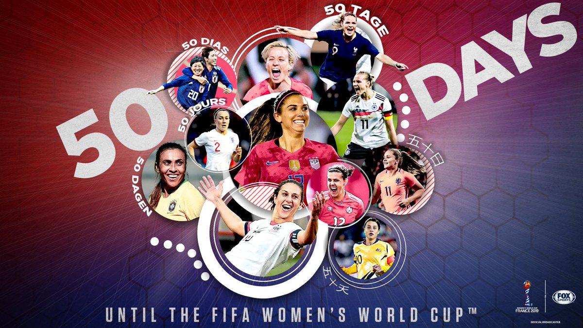 5️⃣0️⃣ days until the FIFA Women's World Cup kicks off on FOX! 🌍🏆